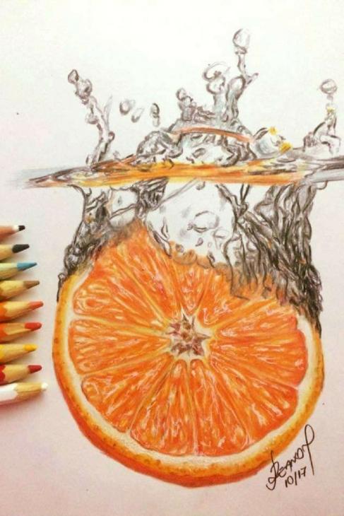 desenho realista da laranja
